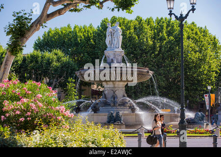 France, Bouches du Rhone, Aix en Provence, the Rotonde fountain - Stock Photo