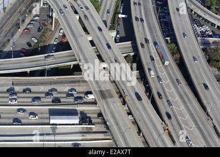 United States, California, Los Angeles, freeways intersection (aerial view) - Stock Photo