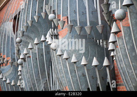 Close up detail on the exterior of a car park in Glasgow, Scotland UK - Stock Photo