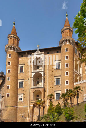 Italy, Marche, Urbino, Palazzo Ducale, listed as World Heritage by UNESCO, towers attributed to Luciano Laurana - Stock Photo