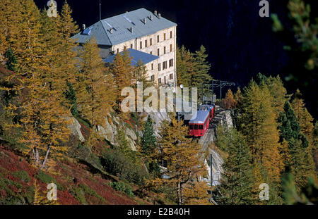 France, Haute Savoie, Mont Blanc Massif, Chamonix, train and station of Montenvers, overlooking the Mer de Glace - Stock Photo