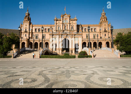 Spain, Andalucia, Seville, Spain Square, built by architect Anibal Gonzalez for the Ibero-American Exhibition of - Stock Photo