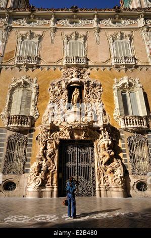 Spain, Valencia, façade of the Palacio Marques de dos Aguas XV century, houses the Ceramics Museum Gonzalez Marti, - Stock Photo