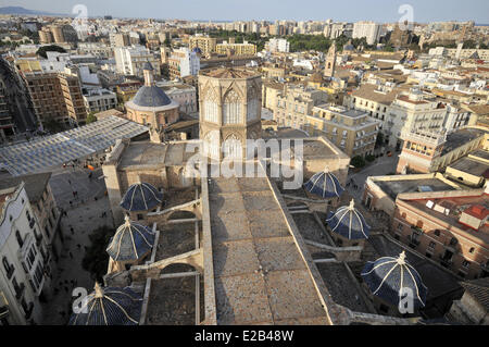 Spain, Valencia, view from the Miguelete octagonal bell tower of the Cathedral - Stock Photo