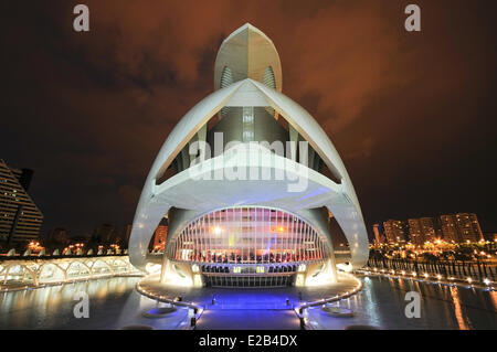 Spain, Valencia, City of Arts and Sciences in Valencia, Palace of Arts Reina Sofia, the architect Santiago Calatavra - Stock Photo
