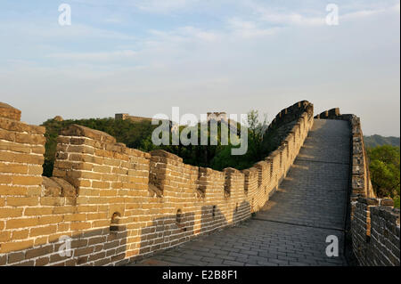 China, near Beijing, Great Wall of China listed as World Heritage by UNESCO, Mutianyu section - Stock Photo