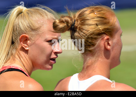 Jocelyn Rae (GB) and Anna Smith (GB) playing ladies doubles at Devonshire Park, Eastbourne, 2014 - Stock Photo