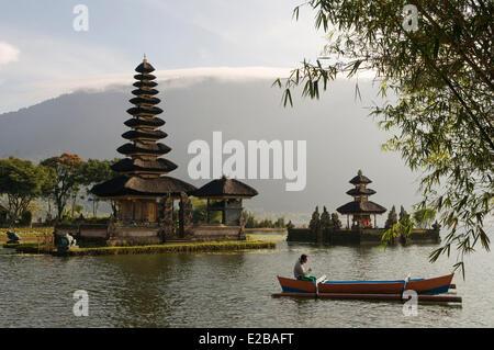 Indonesia, Bali, near Bedugul, temple Pura Ulun Danu Bratan lake at sunrise - Stock Photo
