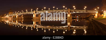 France, Haute Garonne, Toulouse, Pont Saint Pierre and Pont des Catalans over the Garonne River - Stock Photo
