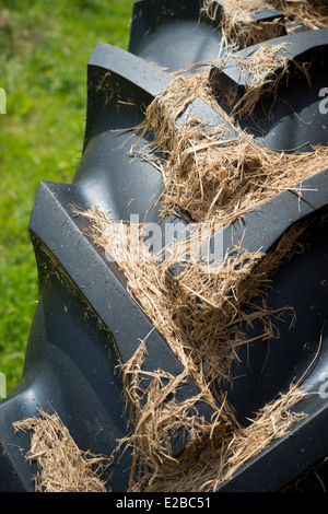 Close up picture of a tractor tyre tread. - Stock Photo