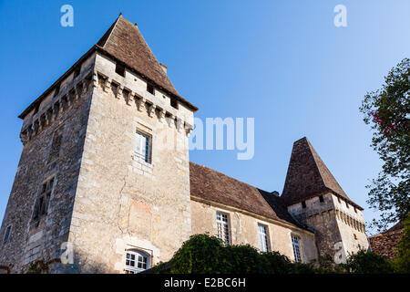 France, Dordogne, Perigord Vert, Saint Jean de Cole, labelled The Most Beautiful Villages of France, castle - Stock Photo