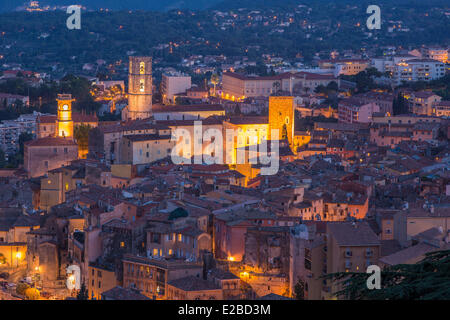 France, Alpes Maritimes, Grasse, tour of clock and cathedral Notre Dame du Puy - Stock Photo
