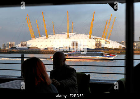 United Kingdom, London, Millennium Dome from the the Gun restaurant on the Isle of Dogs - Stock Photo