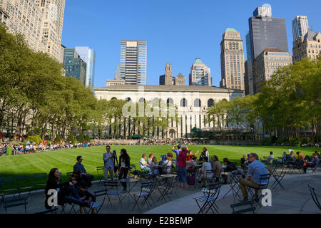 United States, New York City, Manhattan, Midtown, Bryant Park and the rear of the New York Public Library (NYPL)