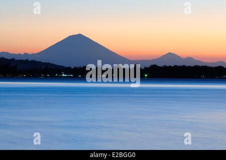 Indonesia, Lombok, Gili archipelago, Gili Air, view over the Gunung Agung (highest mountain in Bali) - Stock Photo