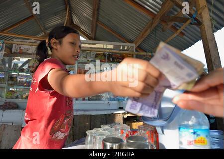 Indonesia, Lombok, Gili archipelago, Gili Air, small street restaurant - Stock Photo