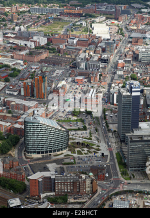 aerial view looking down Swan Street which becomes Great Ancoats Street in the distance; Manchester city centre - Stock Photo