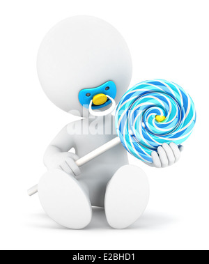 3d white people baby boy and a lollipop, isolated white background, 3d image - Stock Photo