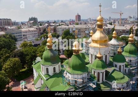 Aerial view of Saint Sophia Cathedral in Kiev, Ukraine - Stock Photo