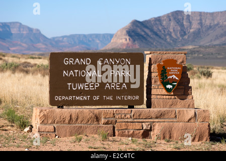 Entrance sign to the Tuweep area of Grand Canyon National Park, Arizona. - Stock Photo