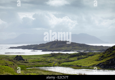 View over looking St Colman's Church Inishboffin looking towards Connemara and the West of Ireland - Stock Photo