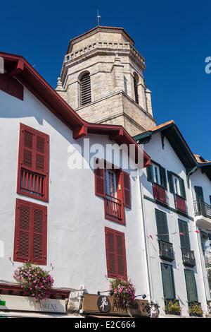 France, Pyrenees Atlantiques, Basque country, Saint Jean de Luz, bell tower of the church Saint Jean Baptiste - Stock Photo
