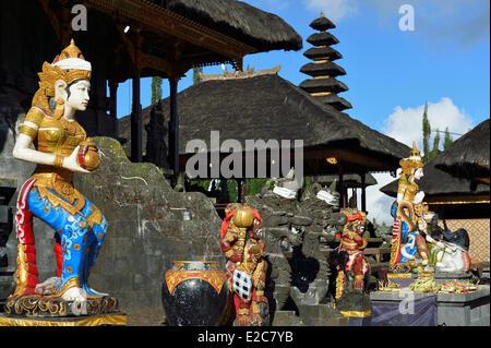 Indonesia, Bali, Kintamani, the temple Pura Ulun Danu Batur along the crater rim of the Gunung Batur caldera - Stock Photo