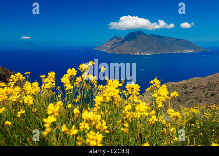 Italy, Sicily, Aeolian islands, listed as World Heritage by UNESCO, view of the islands Salina and Filicudi from - Stock Photo