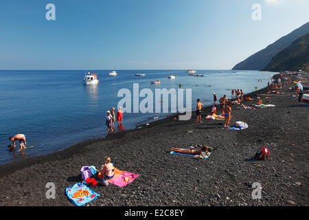 Italy, Sicily, Aeolian islands, listed as World Heritage by UNESCO, Stromboli island - Stock Photo