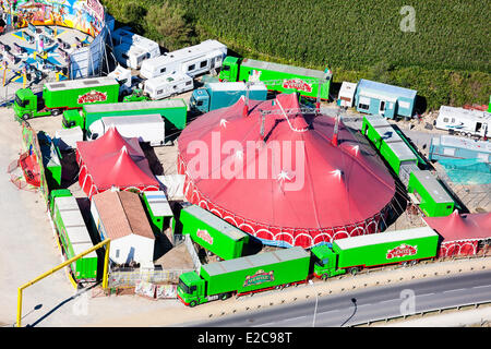 France, Vendee, Saint Hilaire de Riez, circus (aerial view) - Stock Photo
