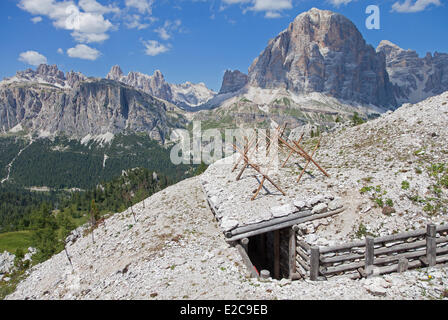 Italy, Trentino Alto Adige, Dolomites massif listed as World Heritage by UNESCO, the Great War Open Air Museum at - Stock Photo