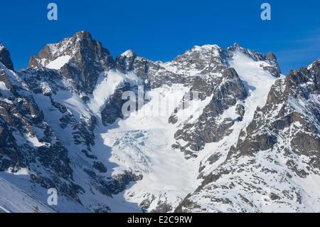 France Hautes Alpes Parc National des Ecrins La Grave La Meije Eastern summit (3891 m) in Massif des Ecrins from - Stock Photo