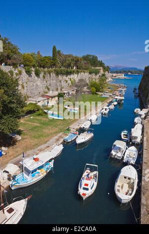 Greece, Ionian Islands, Corfu, Kerkyra, the channel separating the Citadel - Stock Photo