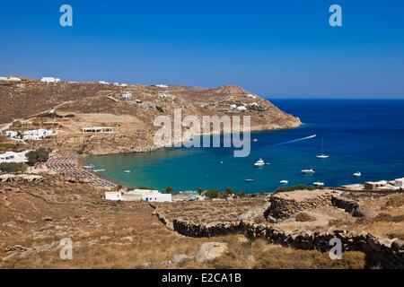 Greece, Cyclades, Mykonos Island, Super Paradise Beach - Stock Photo