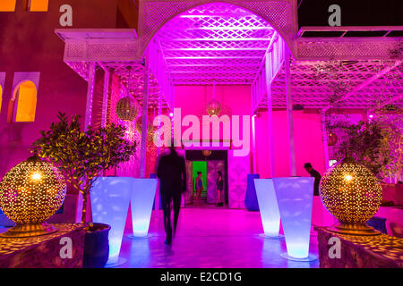 Morocco, High Atlas, Marrakesh, Imperial City, Sofitel Hotel, entrance Lounge Bar - Stock Photo