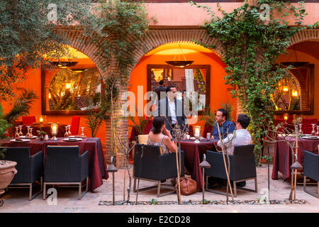 Morocco, High Atlas, Marrakesh, Imperial City, Restaurant La Maison Arabe - Stock Photo