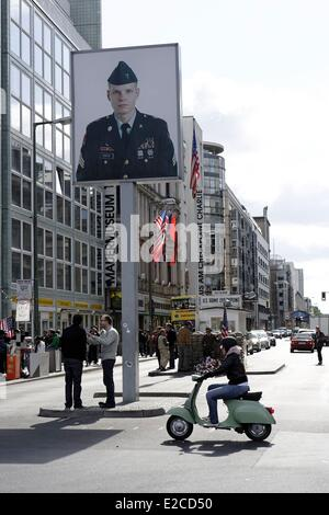 Germany, Berlin, Mitte, Checkpoint Charlie (or Checkpoint C) was the name given by the Western Allies to the best - Stock Photo