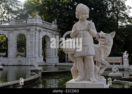 Germany, Berlin, fountain of the fairy tales (Märchenbrunnen), baroque fountain in Volkspark Friedrichshain, created - Stock Photo