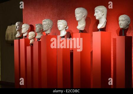 France, Herault, Beziers, Museum of Biterrois, sculptures of the Imperial Heads of Beziers - Stock Photo