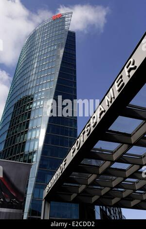 Germany, Berlin, Potsdamer Platz, the DB tower (headquarters of Deutche Bahn) - Stock Photo