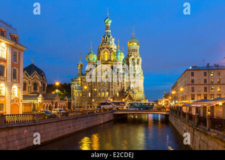 Russia, Saint Petersburg, listed as World Heritage by UNESCO, Church of the Saviour on Spilled Blood at Dusk - Stock Photo
