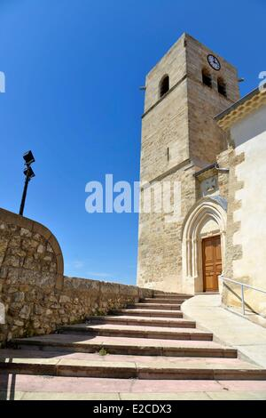 France, Herault, Corneilhan, church Holy Leonce of 19th century, stone staircase leading to a chapel - Stock Photo