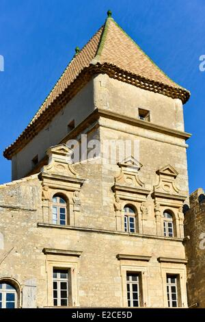 France, Herault, Lieurant les Beziers, Castle of Ribaute, lodging house among which vaults in pendants and roofs - Stock Photo