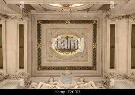 France, Paris, Garnier Opera, detail of the ceiling of the terrace from the South Facade - Stock Photo