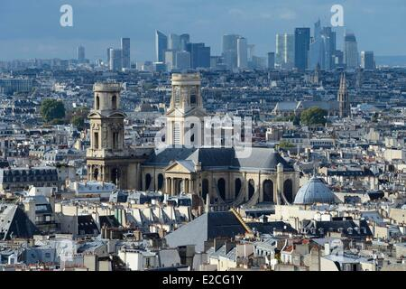 France, Paris, the Saint-Sulpice church and the Defense district in the background - Stock Photo