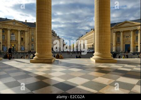 France, Paris, the Corinthian columns of the pediment of the Pantheon facing the Soufflot street, the town hall - Stock Photo