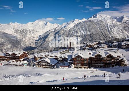 France, Savoie, Massif de la Vanoise, Tarentaise valley, the 3 Valleys, Courchevel 1850 ski resort, the centre of - Stock Photo