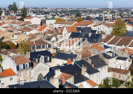 France, Vienne, Poitiers, from Saint Pierre Cathedral, Grand'Rue street district - Stock Photo