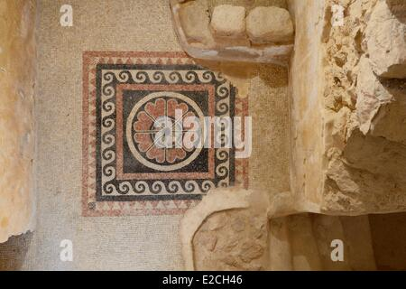 Israel, Negev Desert, Masada fortress, listed as World Heritage by UNESCO, Western palace, decorated with mosaic - Stock Photo