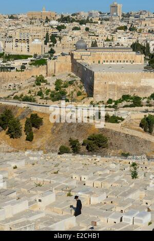 Israel, Jerusalem, holy city, the old town listed as World Heritage by UNESCO, the El Aqsa mosque on Haram el Sharif - Stock Photo